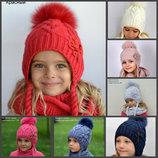 Детская зимняя шапка Орхидея для девочки от 5 лет р. 52 54 56 разные цвета