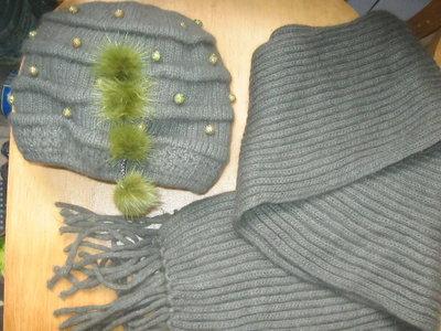 Шапка и шарф вязаные трикотаж новые