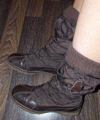 Фирмиенные коричневые женские термосапожки Тсм - 40 размера, 26 см стелька