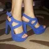 Босоножки синие new look 37-38размер