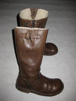 кожаные зимние сапоги на меху, 21 см стелька, с гортексом