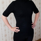 Черная трикотажная футболка 48 р.