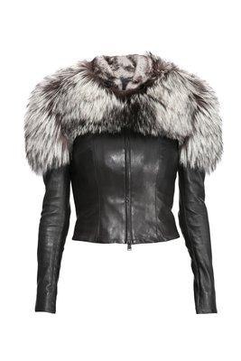 Куртка из натуральной кожи и натуральным мехом чернобурки