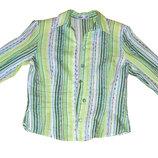 Салатовая блуза в полоску р.44