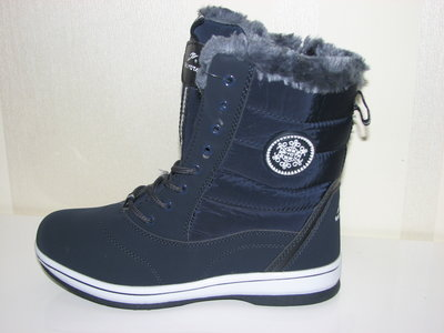Зимние высокие ботинки на шнурках 36-41 темно синие