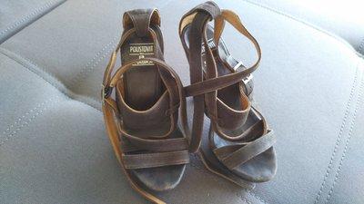 босоножки Braska на каблуке, кожа, коричневые, 36