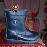 Сапоги зимние кожаные для мальчика и девочки,синие, новые р. 25,26,27,28,29