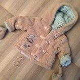 зимняя плюшевая утепленная Coat Teddy курточка с капюшоном и варежками на 6-9 мес с Тигрой