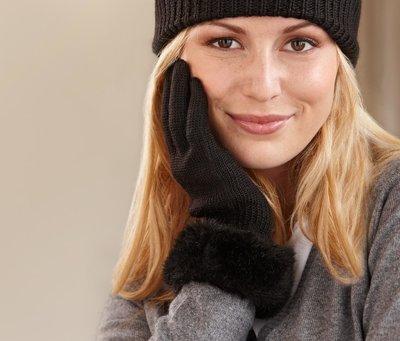 Комплект шапочка и перчатки с искусств. мехом Tchibo Германия