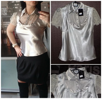 Красивейшая блуза металлик,р.S