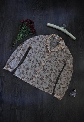 Шифоновая рубашка с длинным рукавом в цветочный принт