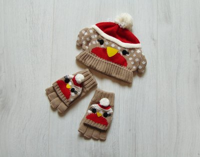 Новый комплект для модницы или модника шапочка рукавички-варежки. John Lewis. Размер 2-4 года