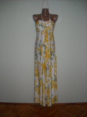 Платье Ах белое с желтыми розами