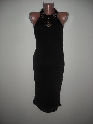 Платье черное с вышивкой металичскими блочками