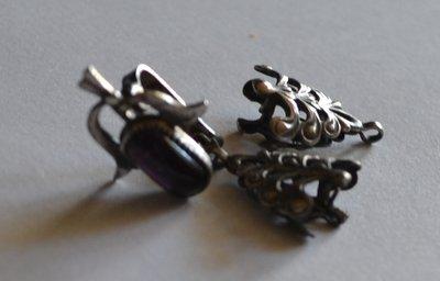 серьги серебро вес 3,33 грамма аметист на реставрацию