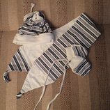 набор шапочка шарфик рукавички на малышку 3-6 мес