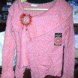 Новые мохеровые свитерки с брошью, один размер, разные расцветки