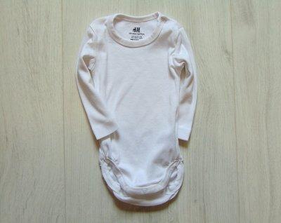 Белоснежный бодик с длинным рукавом для новорожденного. H&M. Размер 4-6 месяцев.