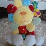 Веселый красочный тигренок с платочком одеяльцем мягкая игрушка для малышей