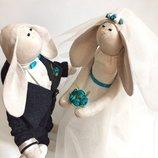 Свадебные зайки, пара молодоженов, бирюзовая свадьба, ручная работа подарок в наличии