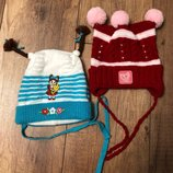 Шапка демисезонная осень шапки шапочка на завязках 1-3 года