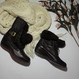 Зимние коричневые ботинки Texon кожа-37р