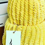 Шапка вязаная плюш велюр унисекс желтая лимонная новая теплая демисезон осень зима весна