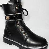 Ботинки демисезонные на девочку чёрные, F7822-6, Тм YTop , размеры 34, 35, 36, 37, 38