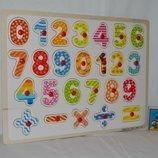 Развивающая деревянная игрушка Рамка - вкладыш с ручками цифры