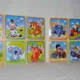 Деревянная игрушка Пазлы микс видов разные на одной планшетке Животные Транспорт формат А4
