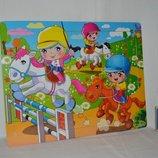 Деревянная игрушка Пазлы яркие красивые герои Весёлые гонки машинки лошади формат А4 48 деталей