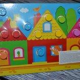 Развивающая деревянная игрушка пазлы вклад цвет Дом и Ферма