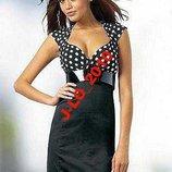 Платье Вер В Горох Низ Черный М-Ка пояс