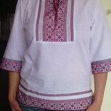 Сорочка вышиванка - ручная работа на домотканом полотне крассный с черным орнамент