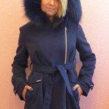 Зимнее подростковое пальто с натуральным мехом