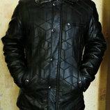 Куртка зимняя кожаная стеганная на меху мужская