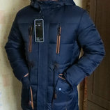 Куртка парка пуховик зимняя прямая темно-синяя мужская