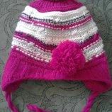 Теплая зимняя шапка на девочку от 7-9лет