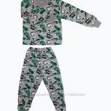 нова футер начес от 1-10 лет до 140 рост новая теплая пижама с манжетами серая с начесом