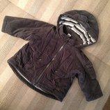 куртка курточка микровельветовая, утеплитель холлофайбер, на 6-9 мес