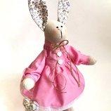 Зайка тильда Джессика, игрушка для дочки, оригинальный подарок девушке