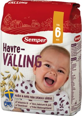 Мягкая овсянка вэллинг с 6 месяцев 725г Семпер Semper , привозим под заказ со Швеции