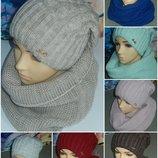 Классные зимние наборы шапка хомут,и по отдельности,20 цветов,качество