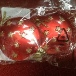 Новые новогодние полувыпуклые шарики Carrefour Франция красные и серебристые