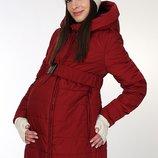 Очень теплая зимняя куртка для беременных, бордовая