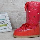Дутики женские луноходы термо Moon Boots Red самая теплая обувь