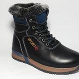 Ботинки зимние на мальчика черные, В7616-2, Тм Paliament , размеры 27, 28, 29, 30, 31, 32 Тёплые
