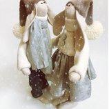 пара заек тильда Первый снег, подарок на новый год, Рождество, дочке, сыну, зима