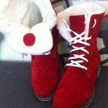 Супер зимние стильные женские сапоги ботинки Timberland теплые натуральный нубук шерсть мех красота