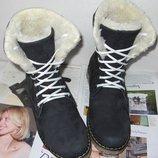 Супер зимние стильные женские сапоги ботинки Timberland теплые натуральный нубук Тимберленд стильно